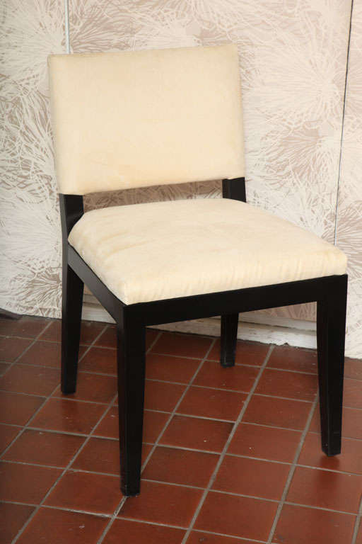 Set of Four Modern Ultrasuede Chairs  clean lines Low  level<br /> $1650 Each