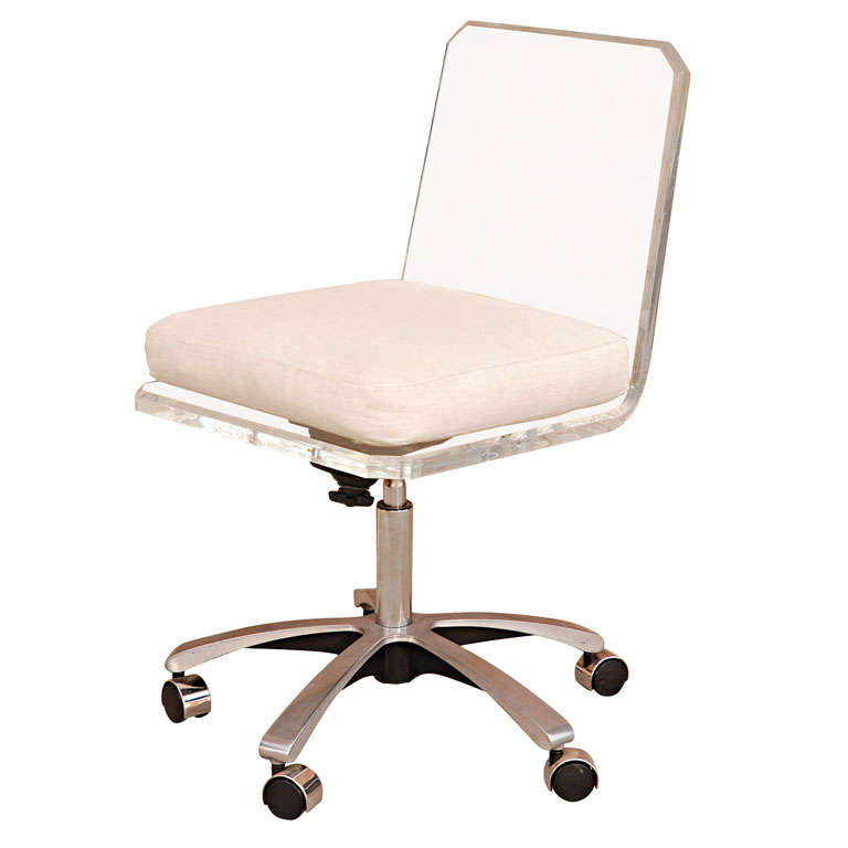 Lucite Swivel Base Desk Chair With White Cushion