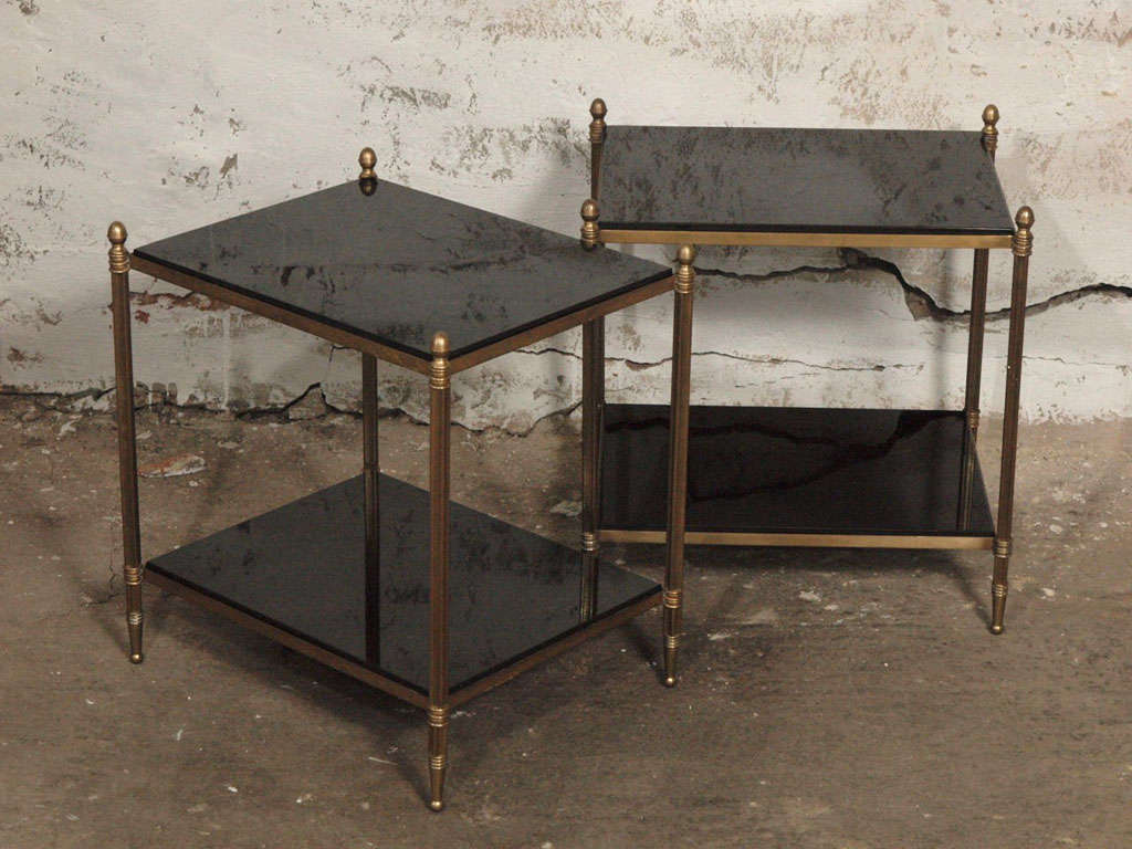 Pair Of Elegant French Brass And Black Granite Side Tables At Stdibs - Black and brass side table