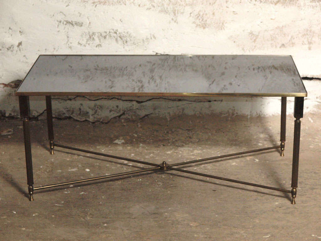 Refined Maison Bagues Style Brass and Mirror Coffee Table at 1stdibs