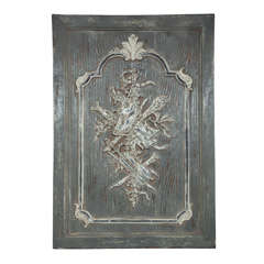 Carved and painted pine neoclassic style panel