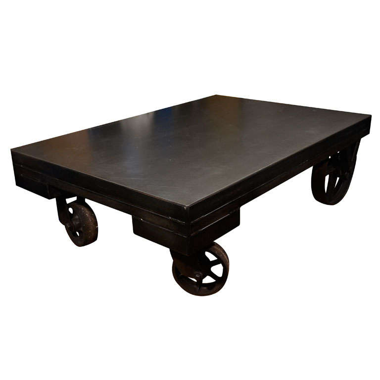 American reclaimed industrial cart coffee table on wheels for Coffee tables on wheels