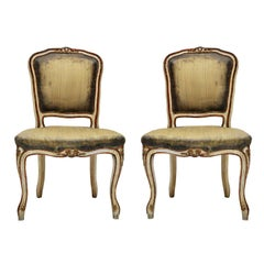 Pair of Rococo Petite Painted Side Chairs with Green Silk, France, 1870