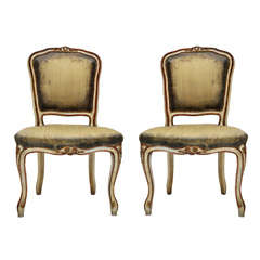 Pair of French Rococo Painted Chairs