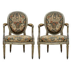 Pair of French Louis XVI Painted Fauteuils
