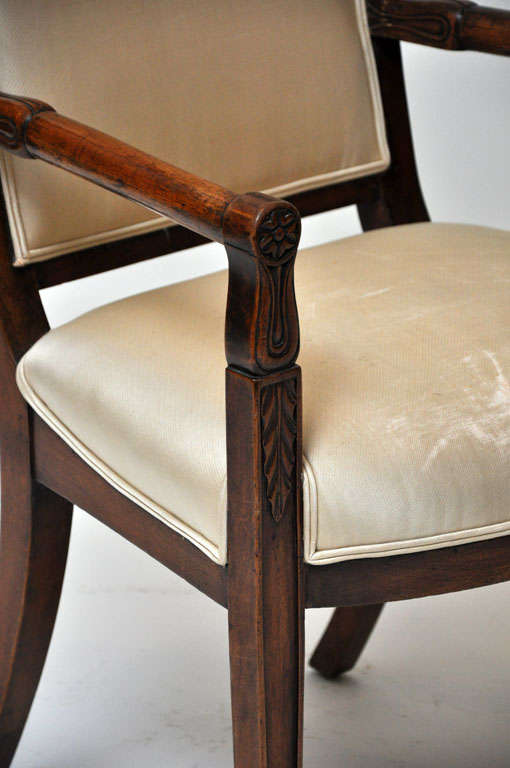 Pair of Empire Mahogany Consulate Chairs, France, 1800 For Sale 2