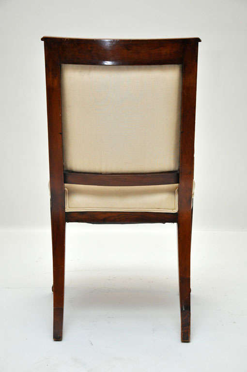 19th Century Pair of Empire Mahogany Consulate Chairs, France, 1800 For Sale