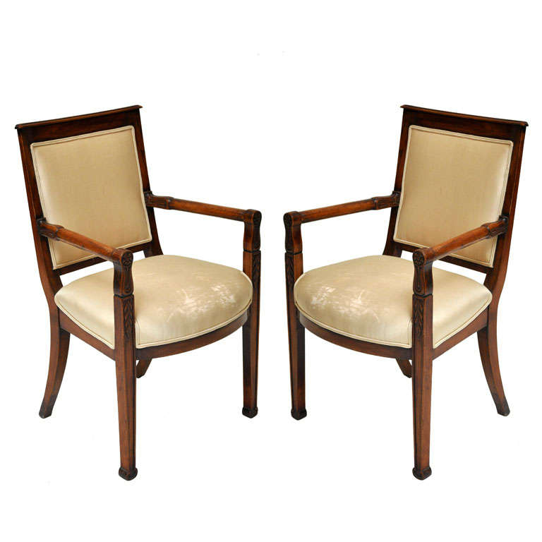 Pair of Empire Mahogany Consulate Chairs, France, 1800 For Sale