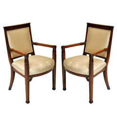 Pair of French Empire Fauteuils
