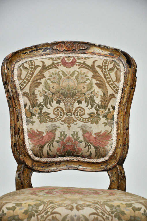 19th Century Pair of French Rococo Painted Louis XV Style Chairs For Sale