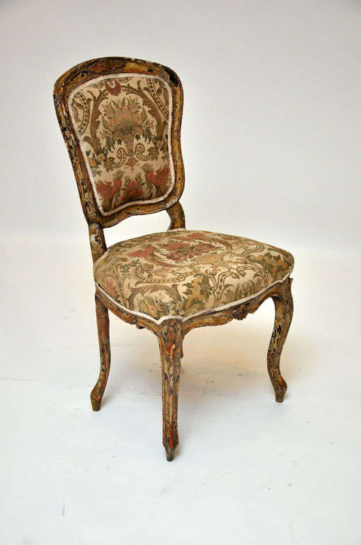Pair of French Rococo Painted Louis XV Style Chairs For Sale 1