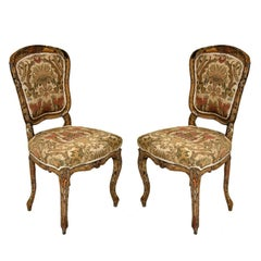 Pair of Rococo Painted Louis XV Style Boudoir Chairs, France, 1840