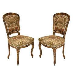Pair of French Rococo Painted Louis XV Style Chairs