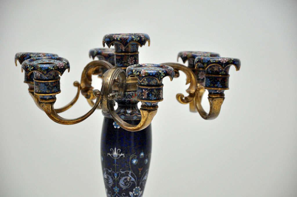 Antique Pair of Rare French Cobalt Blue Cloisonné Candelabras, 1890 For Sale 2