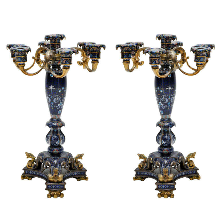 Pair of Chinese Cloisonné Enamel and Gilt Bronze Candelabras