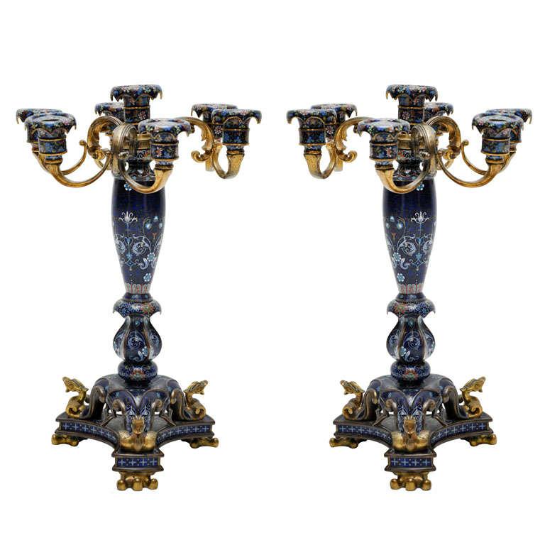 Antique Pair of Rare French Cobalt Blue Cloisonné Candelabras, 1890 For Sale