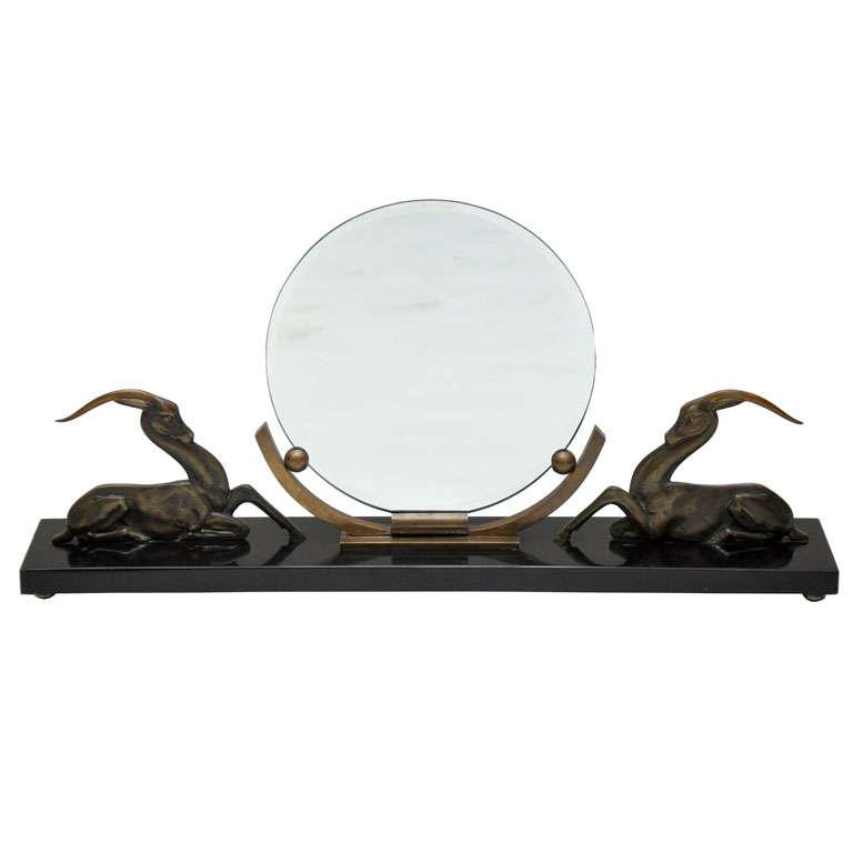 Art Deco Bronze Gazelle Mirror in the manner of Rembrandt Bugatti, Paris, 1920