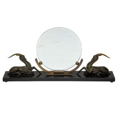 French Art Deco Bronze Gazelle Mirror in the manner of Rembrandt Bugatti