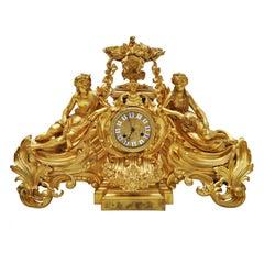 Napoleon III Henri Picard Gold Bronze Figural Mantel Clock, Paris, 1860