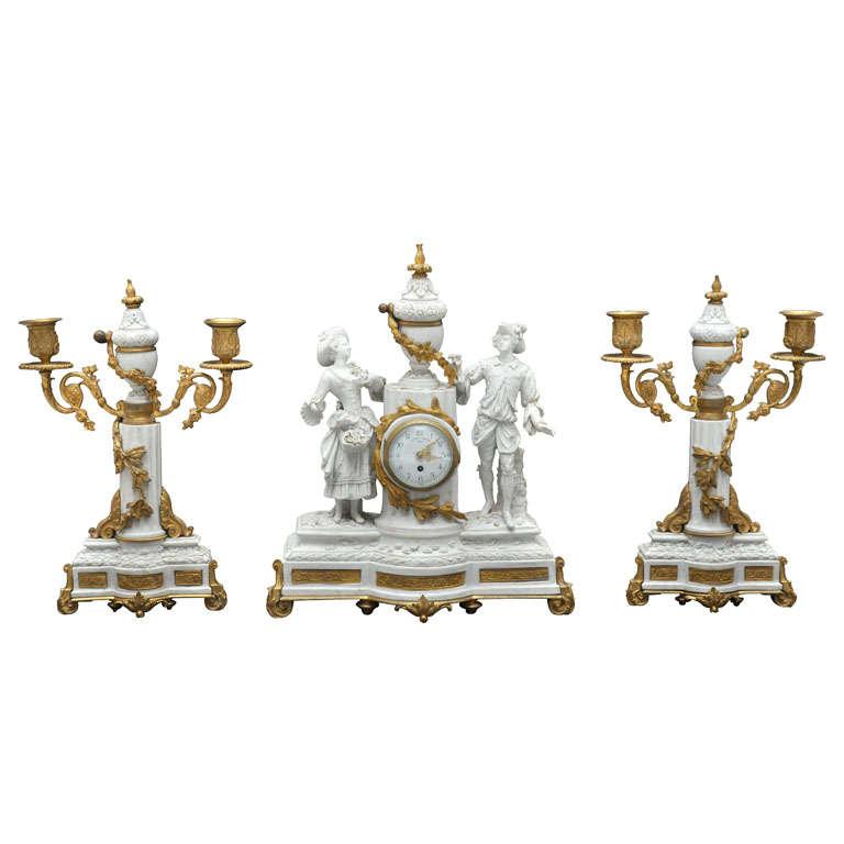 Neoclassical Three-Piece Sèvres Bisque Garniture Clock Set, France, 1880