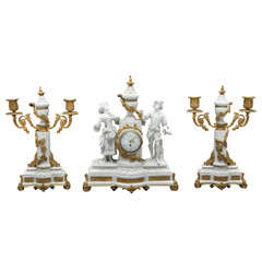 French Neoclassical Sèvres Bisque Three-Piece Clock Garniture