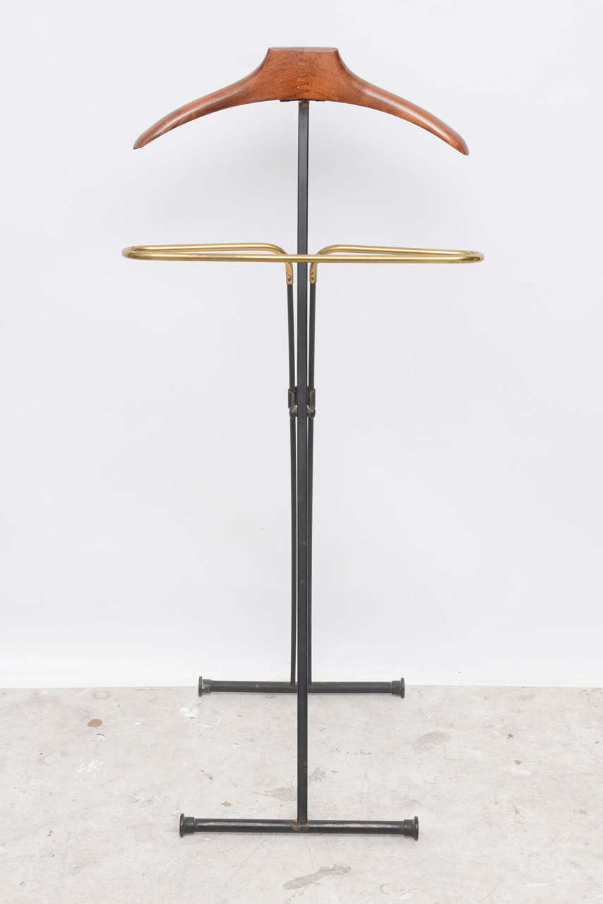 Mid-20th Century Mid-Century Modern French Wood and Brass Men's Valet Stand, Coat Stand For Sale