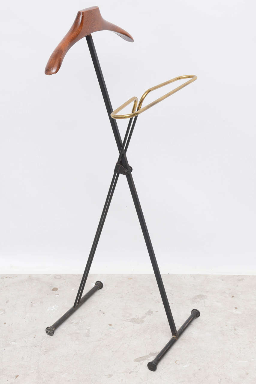 Metal Mid-Century Modern French Wood and Brass Men's Valet Stand, Coat Stand For Sale