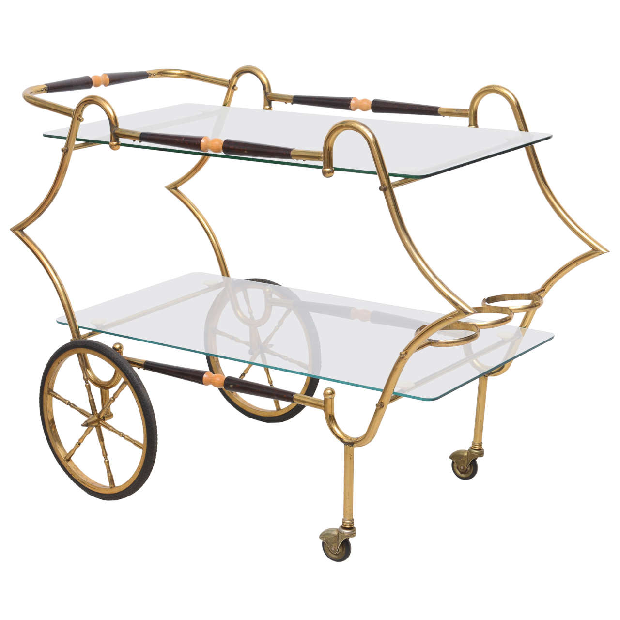 Brass and Glass 1950s Trolley Server Bar Cart Italy