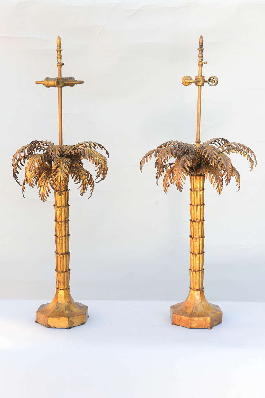 Pair Of Gilded Iron Palm Tree Lamps At 1stdibs