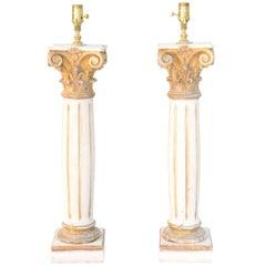 Pair of 19th Century Italian Fragment Column Lamps