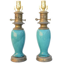 Pair of Turquoise Glazed 19th Century Chinese Vase Lamps