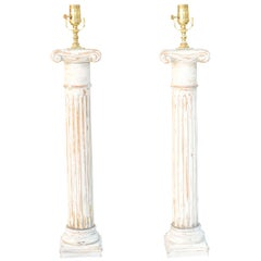 Pair of Carved Wood Column Lamps