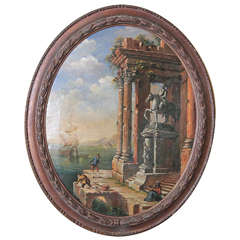 19th Century Continental Oval Oil Painting