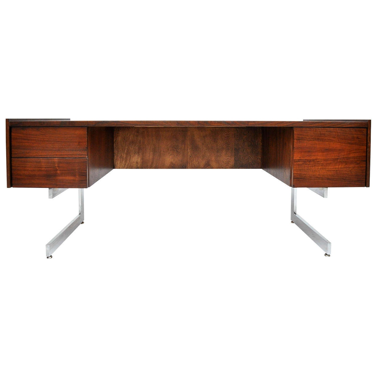 Walnut desk with chrome frame. Fully restored/refinished. Circa 1960's.