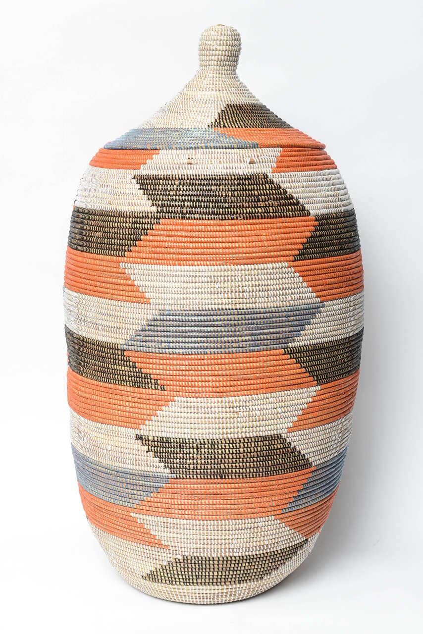 Handmade Baskets From Africa : Huge grasswoven handmade basket senegal africa at stdibs
