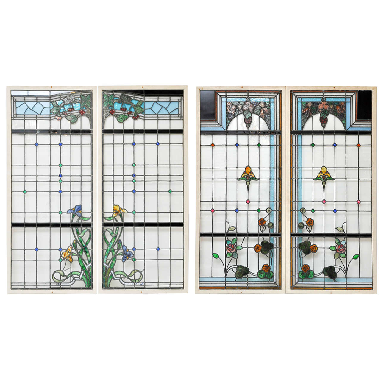 Set Of Four French Art Nouveau Stained Glass Windows At