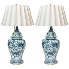 Large Pair of Chinese Porcelain Blue and White Covered Jars