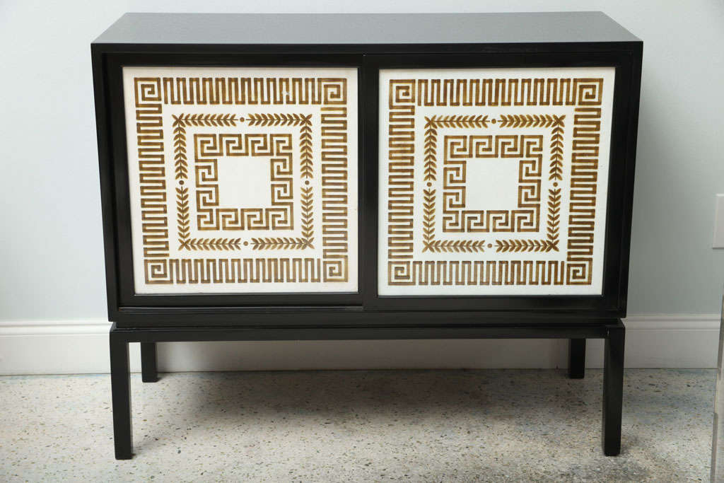 A Black Lacquer Credenza with Sliding Doors, Hollywood Regency image 3