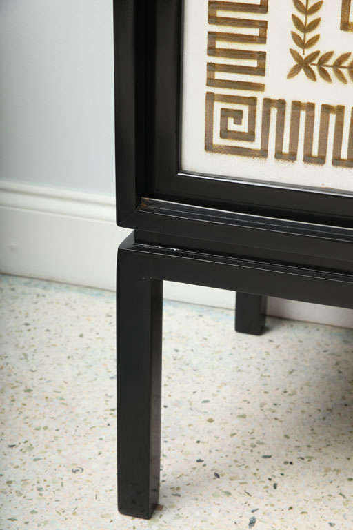 Black Lacquer Credenza with Sliding Doors, Hollywood Regency 9