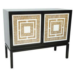 Black Lacquer Credenza with Sliding Doors, Hollywood Regency