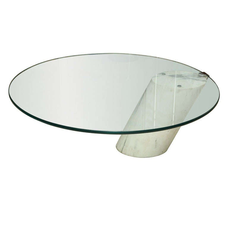 Marble and Glass Low Table Possibly by Brueton