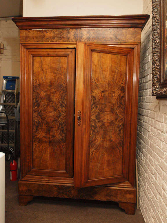 a louis philippe style burl walnut double door armoire at. Black Bedroom Furniture Sets. Home Design Ideas