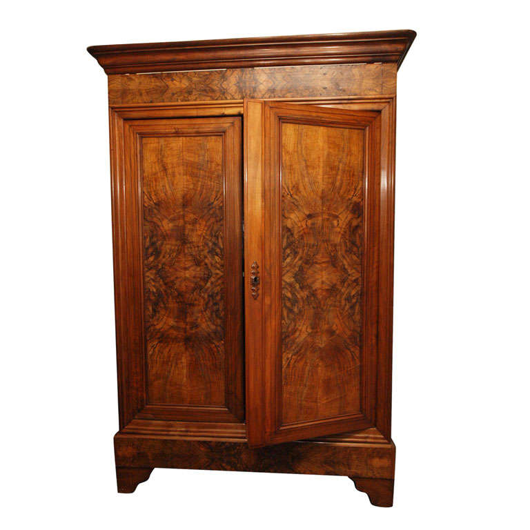 A Louis Philippe Style Burl Walnut Double Door Armoire At