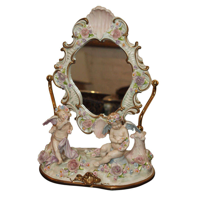 A Capodimonte Porcelain Vanity Mirror In The Rococo Style