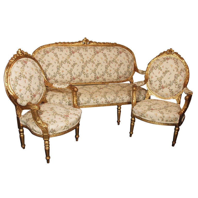 3 Piece French Parlor Suite In The Louis Xvi Style At 1stdibs