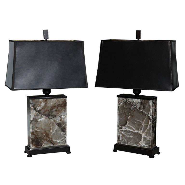 Pair of Onyx Lamps on Bronzed Bases