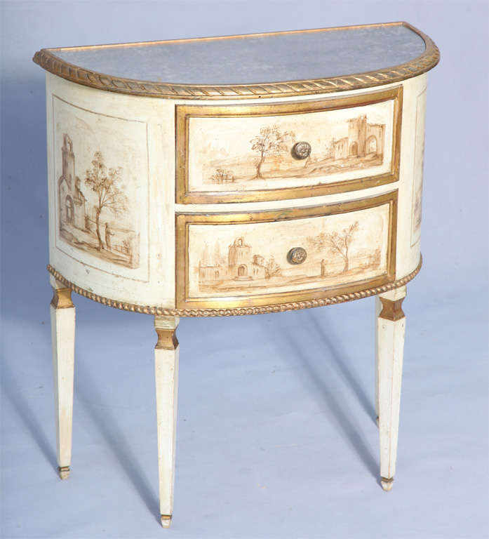 Demilune italian hand painted commode at 1stdibs for Italian painted furniture