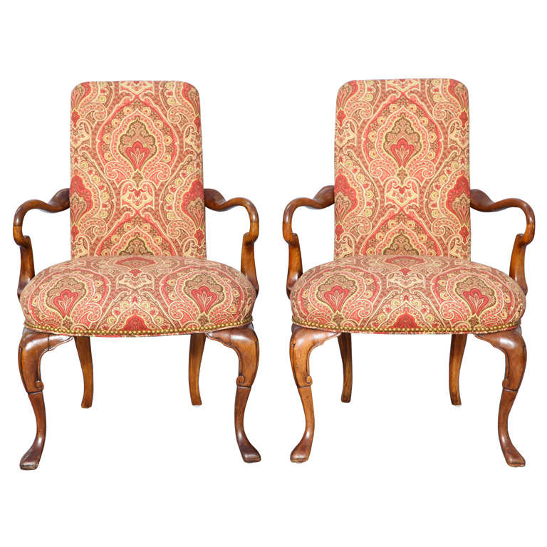Pair of Carved Mahogany 19c. English Armchairs