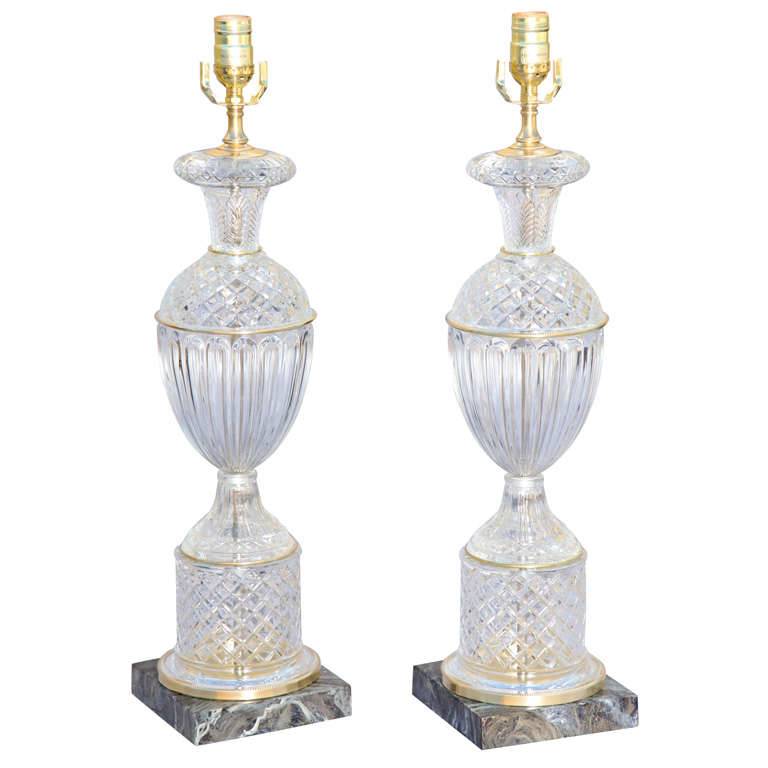 Pair of Glass Urn-Shaped Lamps