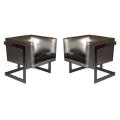 "Pair of ""Cube"" Lounge Chairs by Milo Baughman for Thayer Coggin"